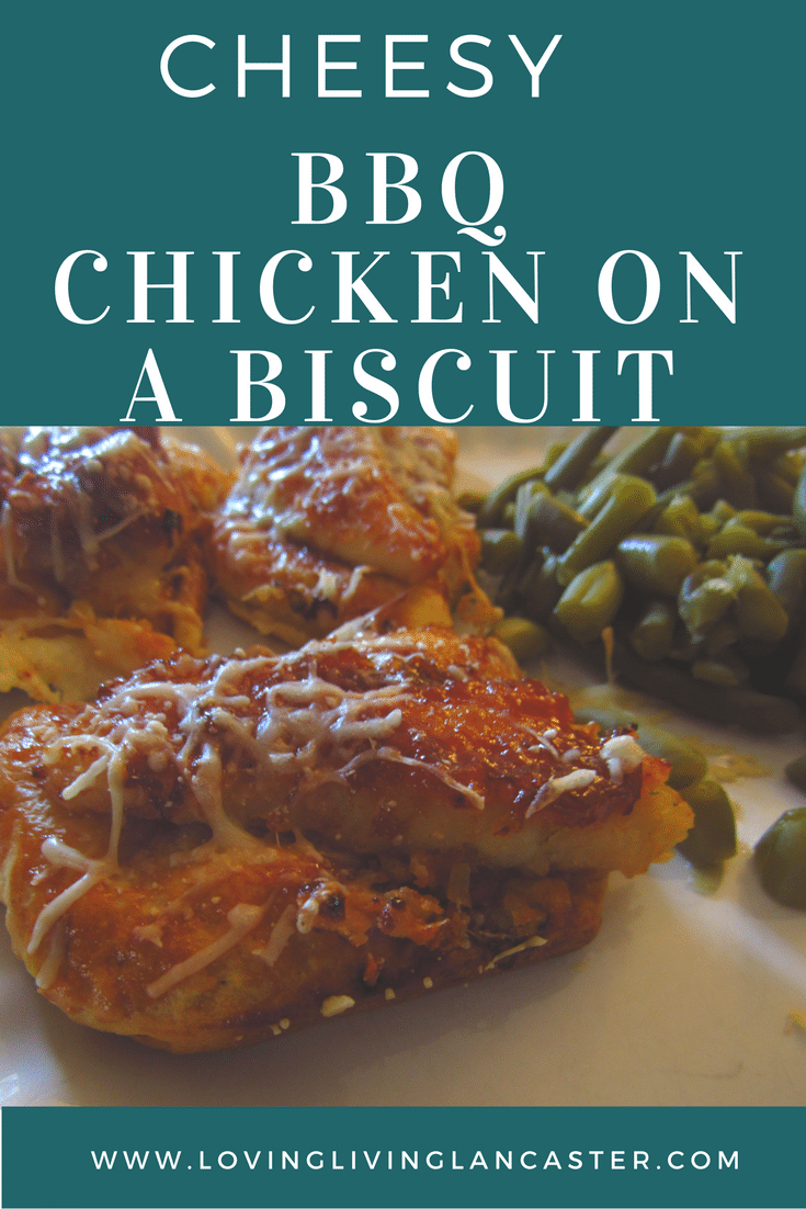 Cheesy BBQ Chicken on a Biscuit {A Delicious and Easy Dinner or Appetizer Recipe}