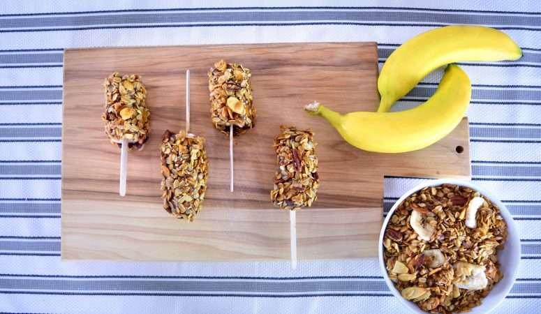 Frozen Banana Granola Pops