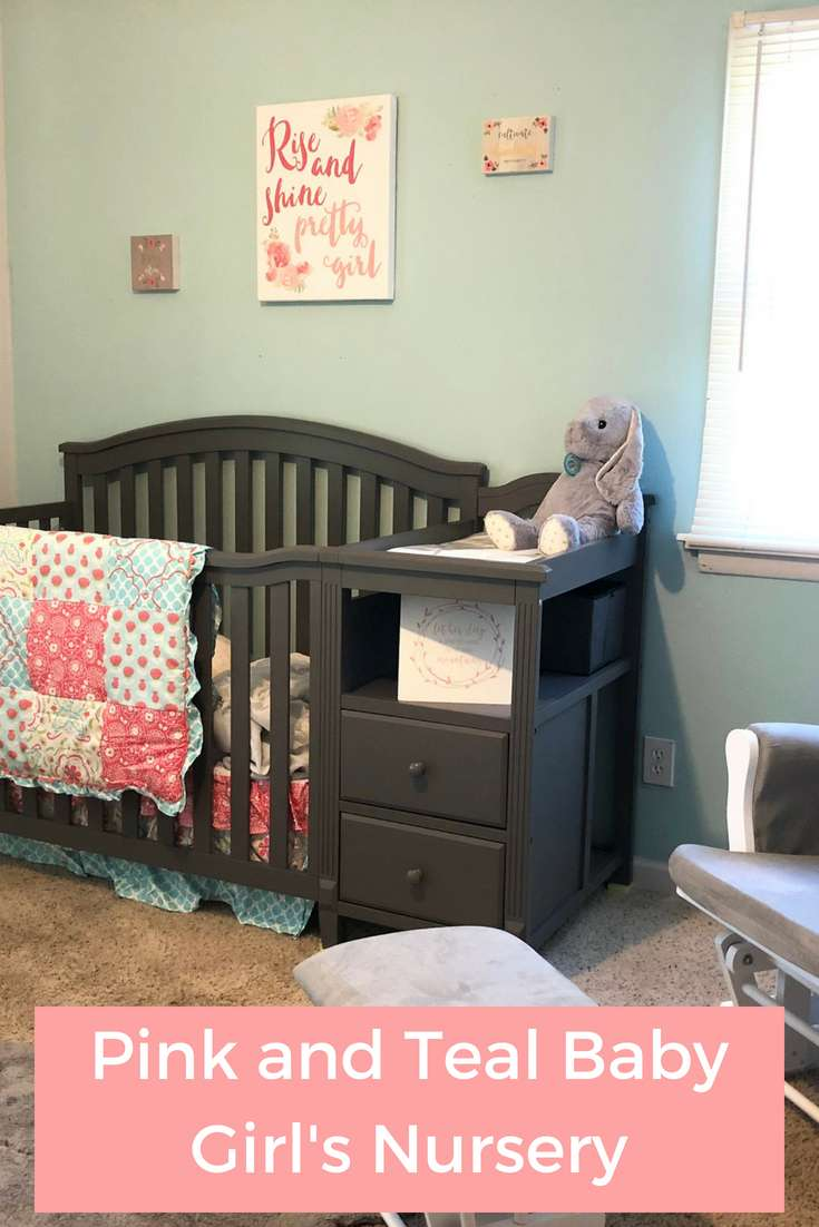 Pink and Teal Baby Girl's Nursery: All of the Details | Pink Nursery | Nursery Bedding | Baby Girl Nursery | Nursery Decor | Nursery Idea {ad}