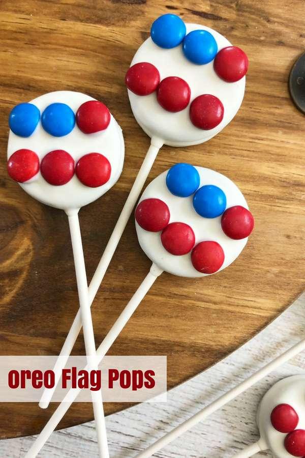 Oreo Flag Pops | 4th of July Dessert | Patriotic Dessert | 4th of July Party | Memorial Day Party | Flag Dessert