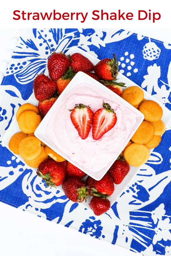 While I don't make strawberry shakes often at home, this strawberry shake dip is an easy and fun alternative. It's great with fruit, or vanilla wafers!| Dessert | Strawberry Milkshake | Fruit Dip | Party Dip