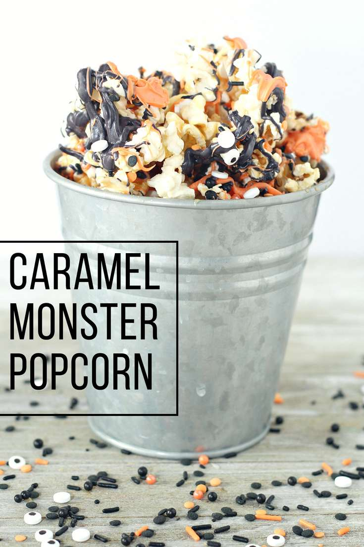 This caramel monster popcorn is an easy and fun snack or treat for Halloween! | Halloween Snack | Halloween Treat | Trick or Treat | Football Snack | Fall Appetizer