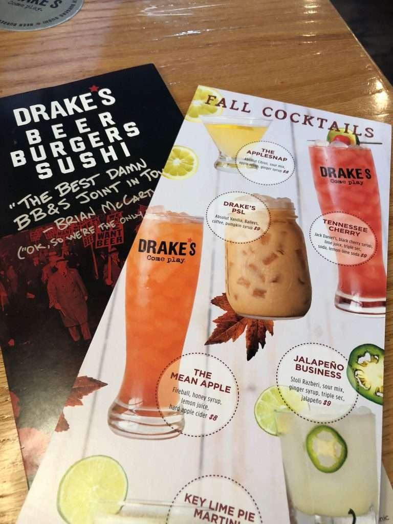 Drake's Bristol TN Menu Fall Specials Menu and Entree Menu