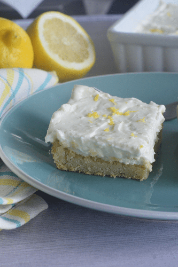 lemon bar on blue plate