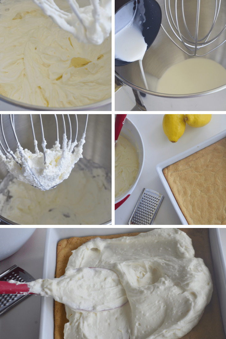 whipped cream process for filling of 6 ingredient lemon bars