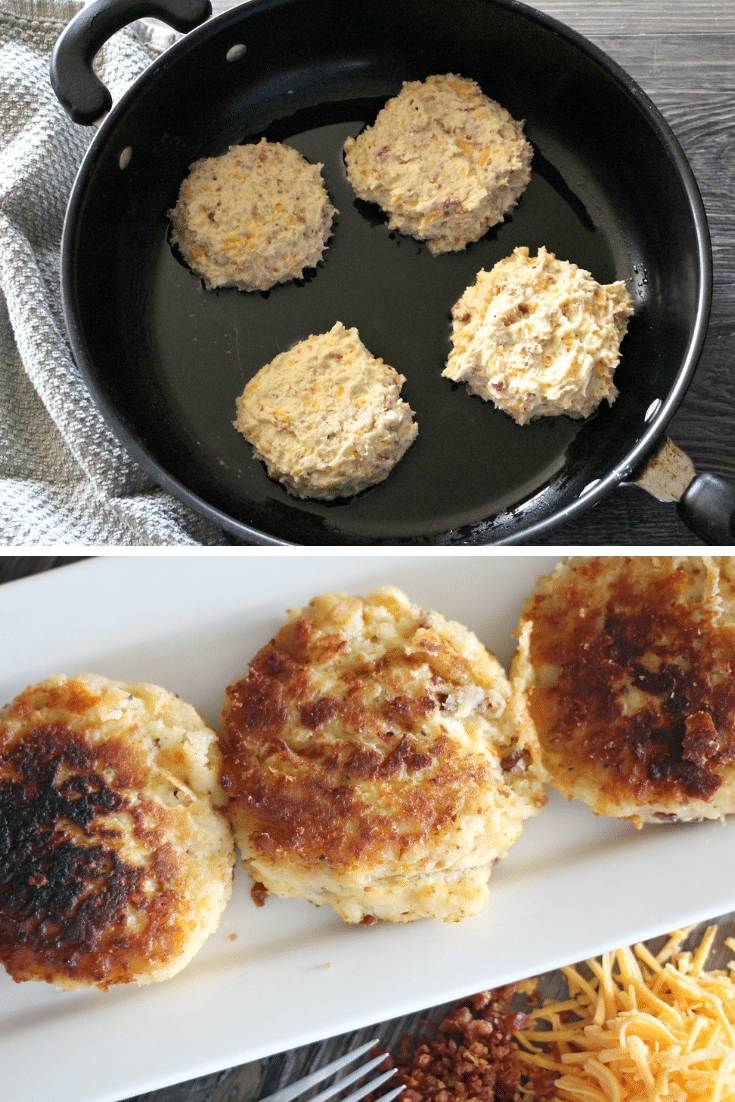 making potato cakes in skillet, potato cakes on white plate