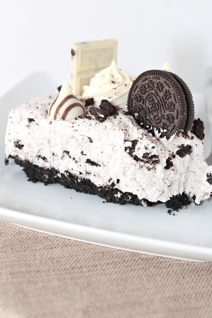 oreo no bake cheesecake on plate