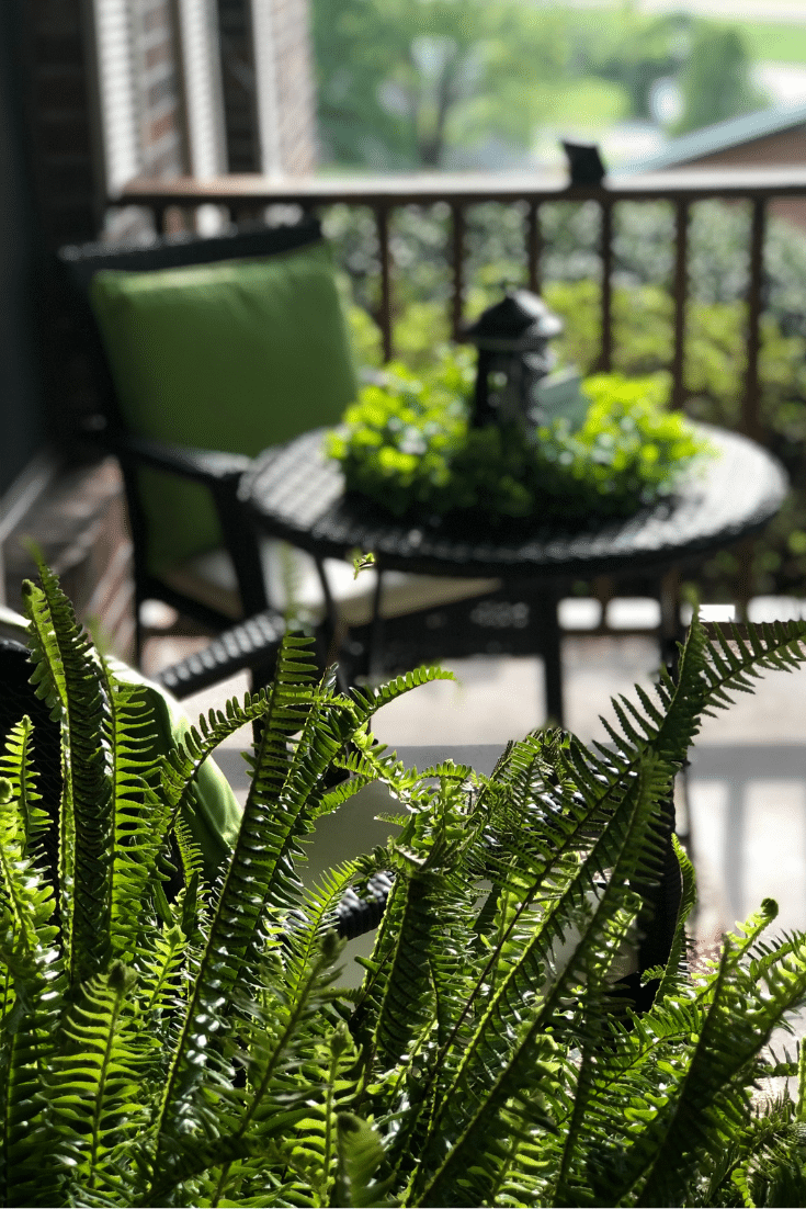 bistro set with greenery