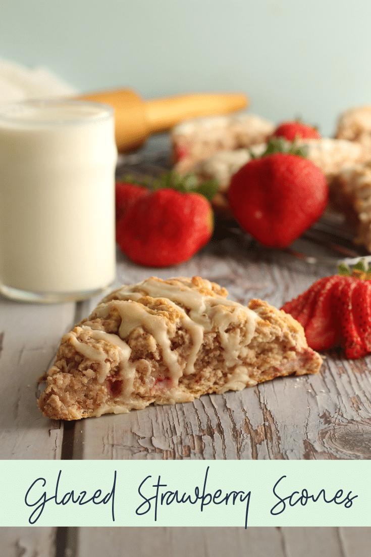 glazed strawberry scone with milk and strawberries
