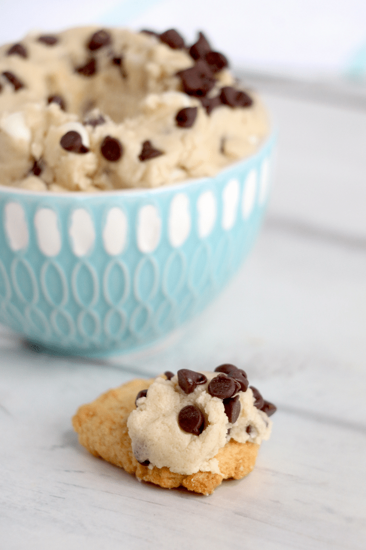 cookie dough dip on cookie
