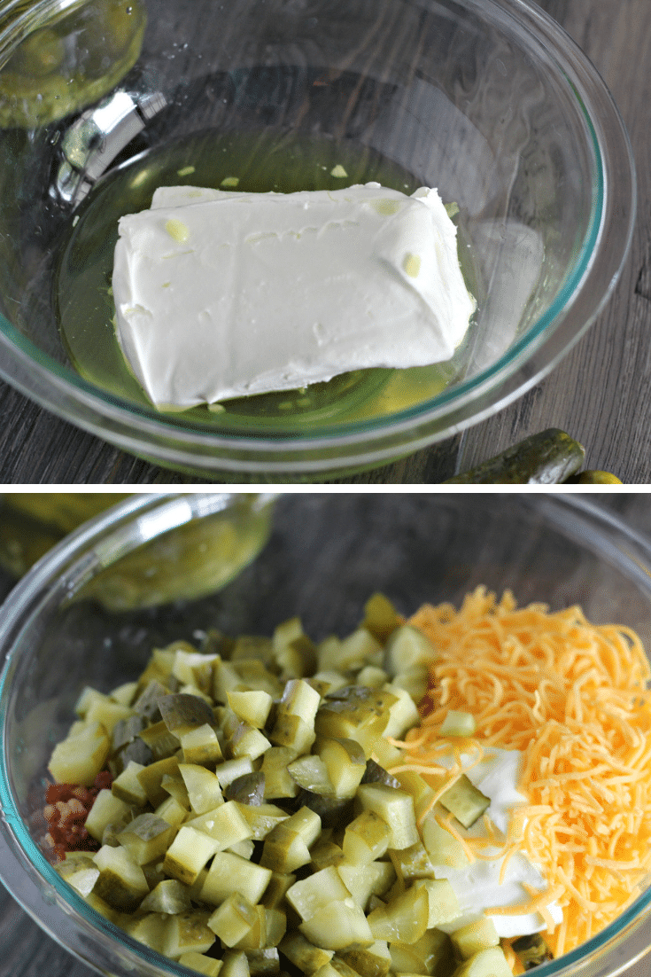 making dill pickle dip