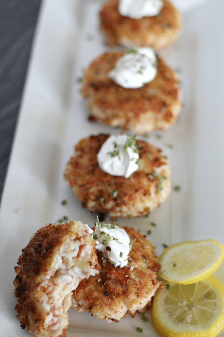 spicy crab cakes on white plate