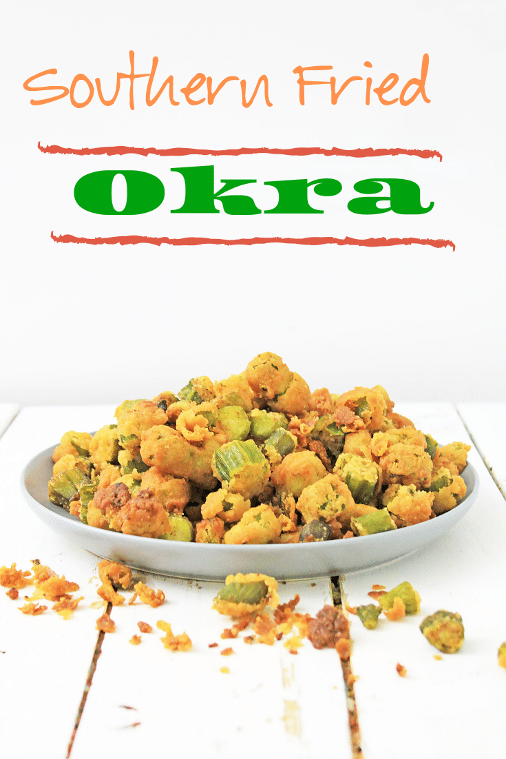 white plate full of fried okra on wooden background