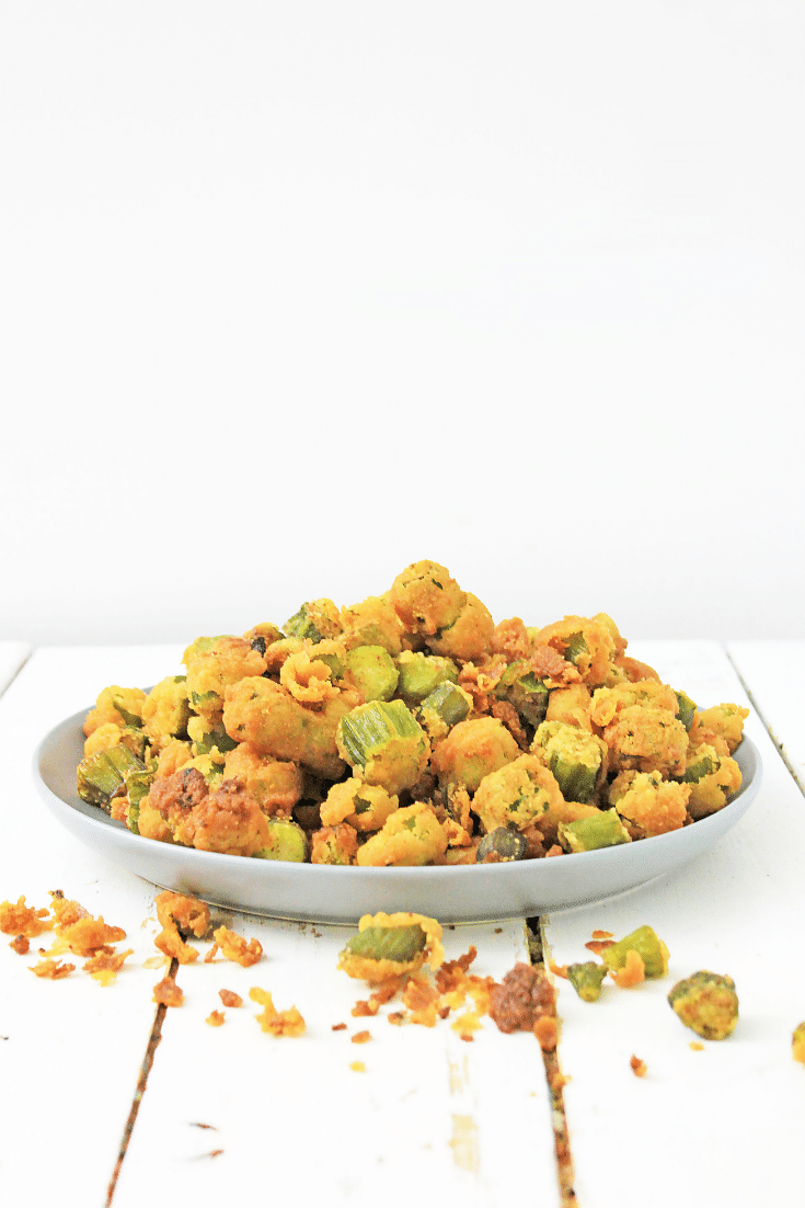 fried okra on wooden background