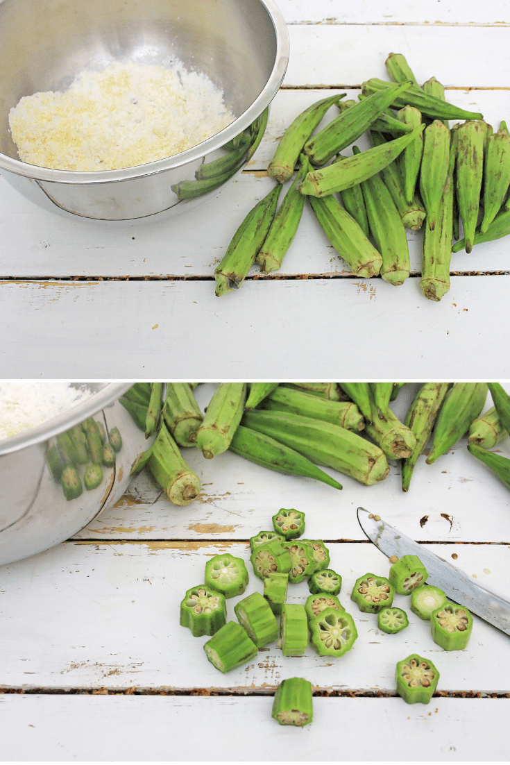 cutting and breading okra
