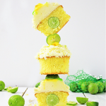 key lime cupcakes stacked on each other