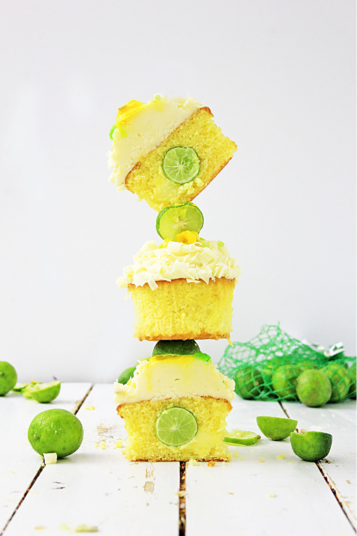 key lime cupcakes stacked on top of each other