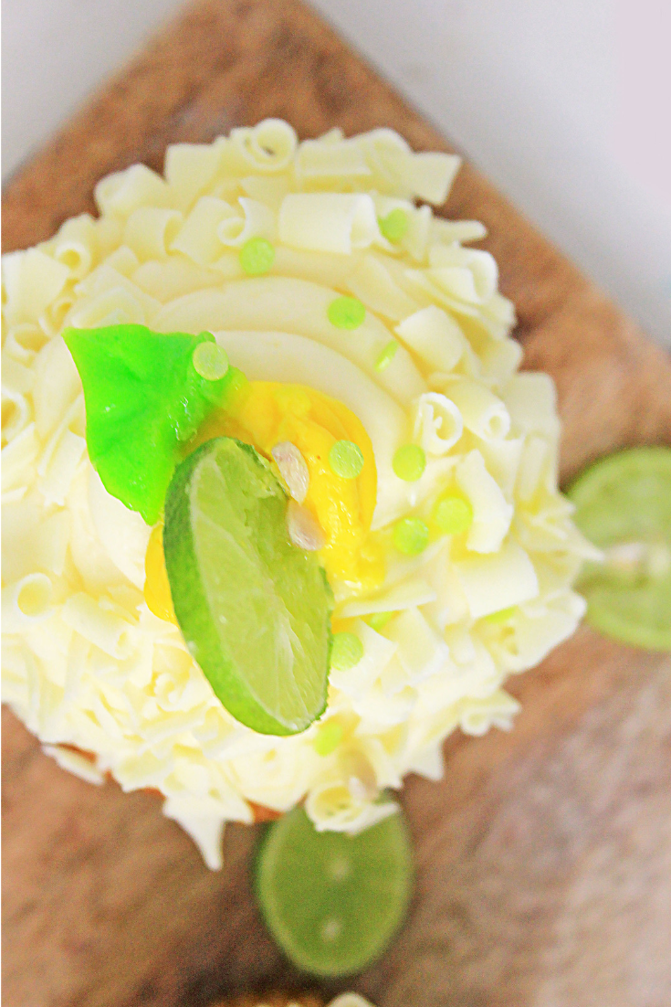 top view of key lime cupcake