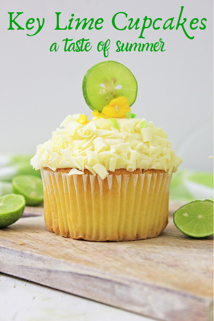 single key lime cupcake on wooden board