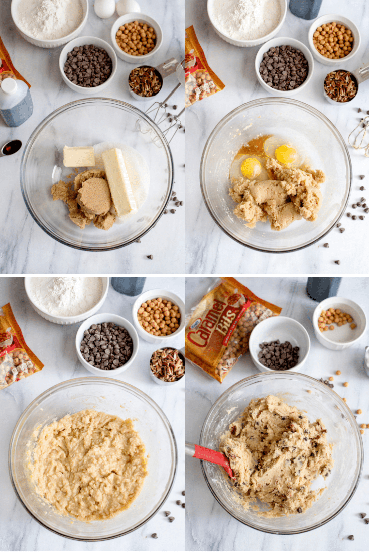 steps for making salted caramel chocolate chip cookie bars