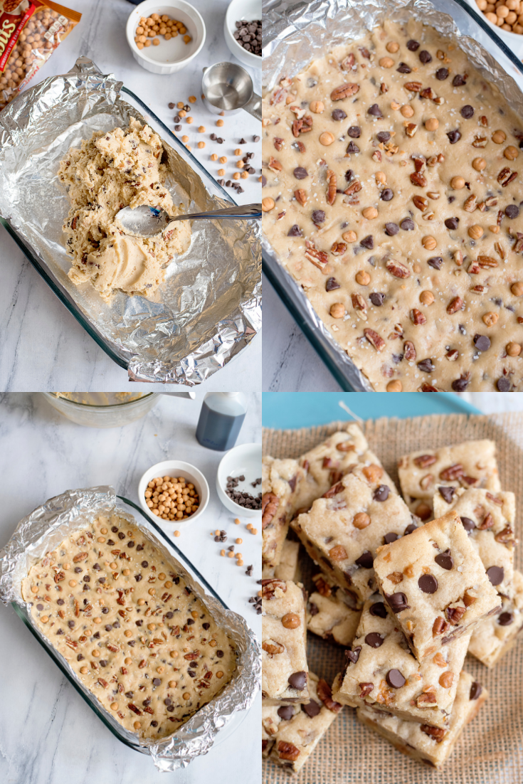 steps to making salted caramel chocolate chip cookie bars