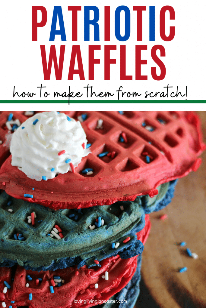 red and blue waffles stacked
