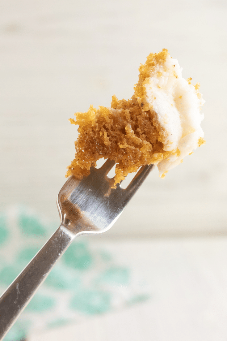 pumpkin cake bite on the end of a fork