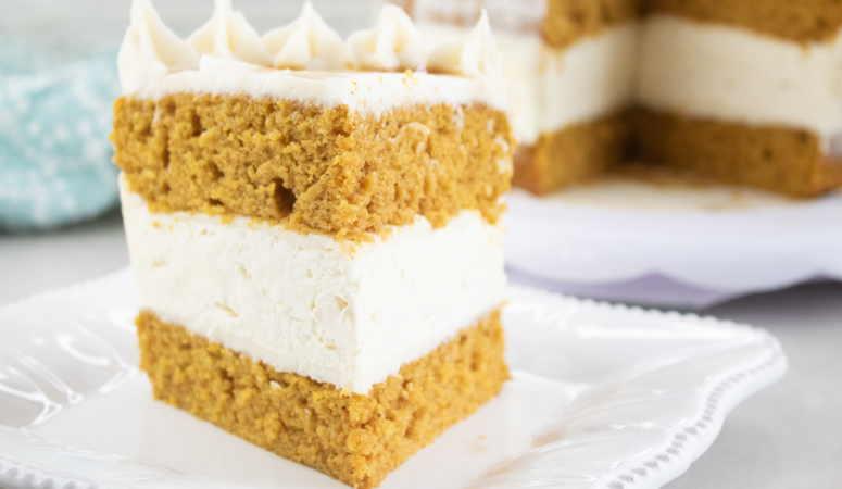 Pumpkin Cake with No-Bake Cheesecake Layer
