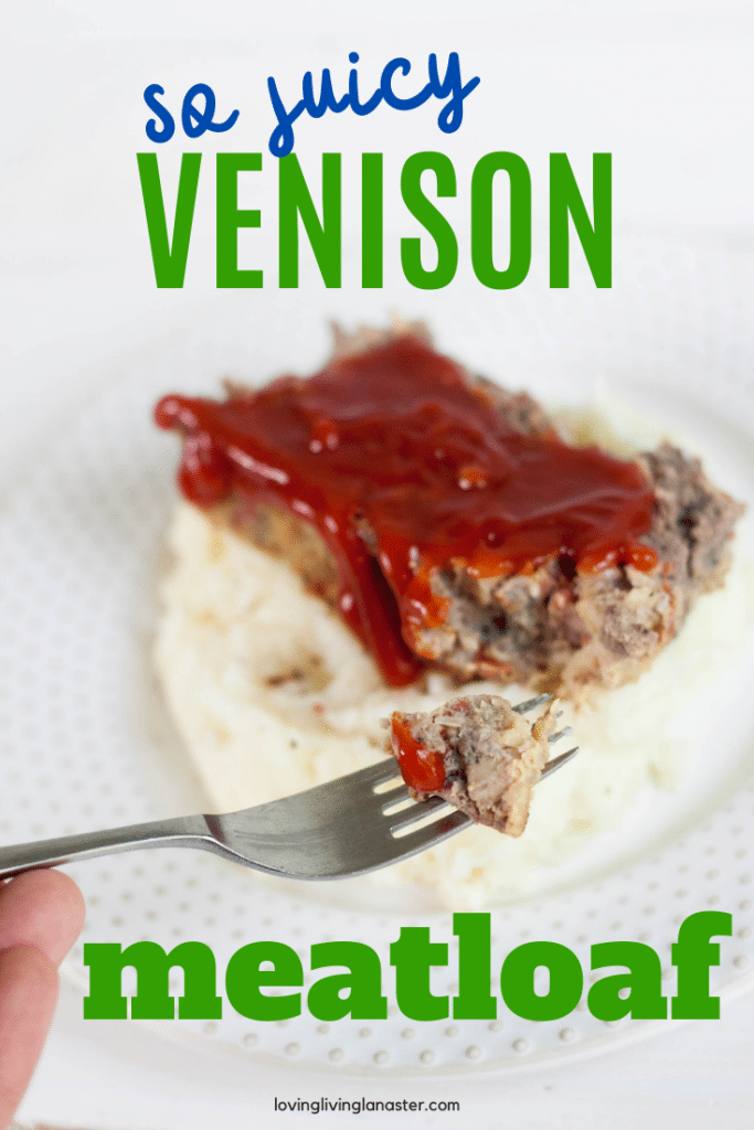 venison meatloaf on white plate