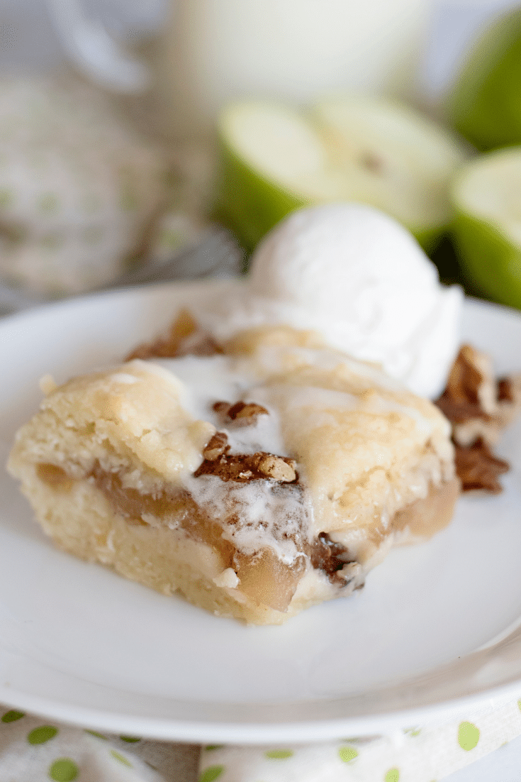 apple pecan pie bar on ice cream