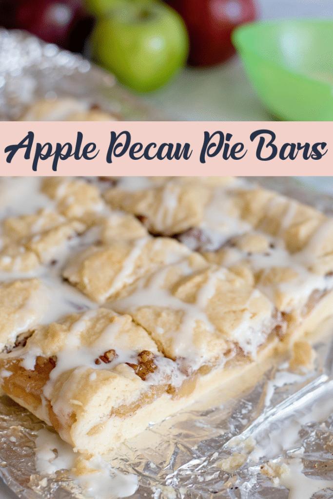 apple pecan pie bars on silver background
