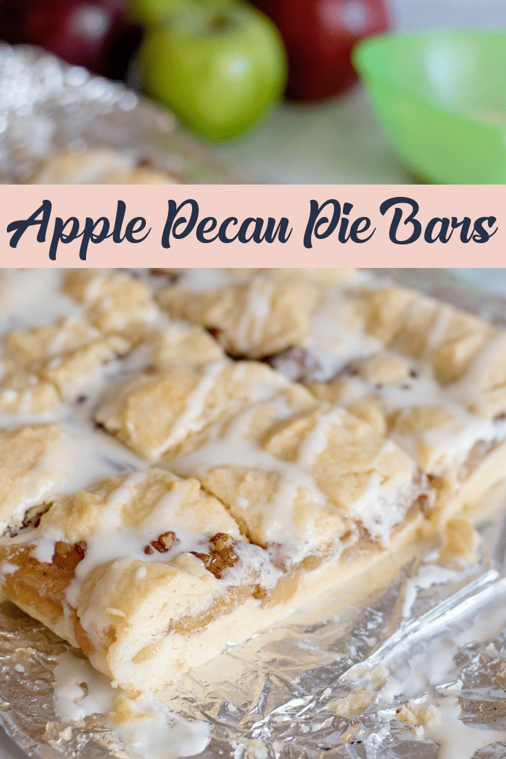 apple pecan pie bars on silver background