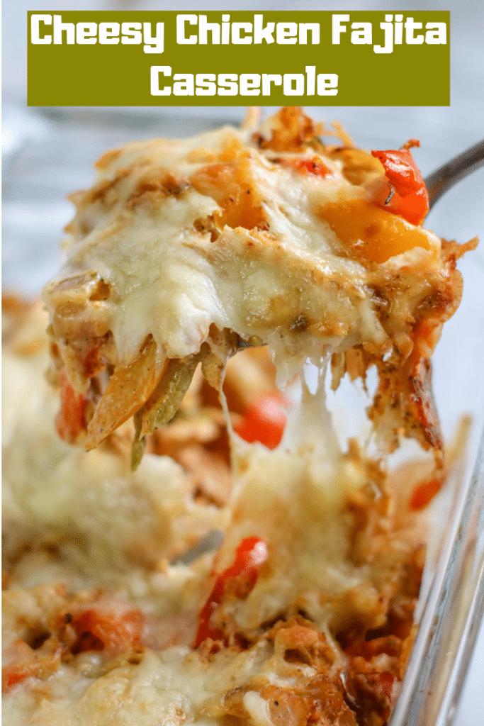 chicken casserole on fork