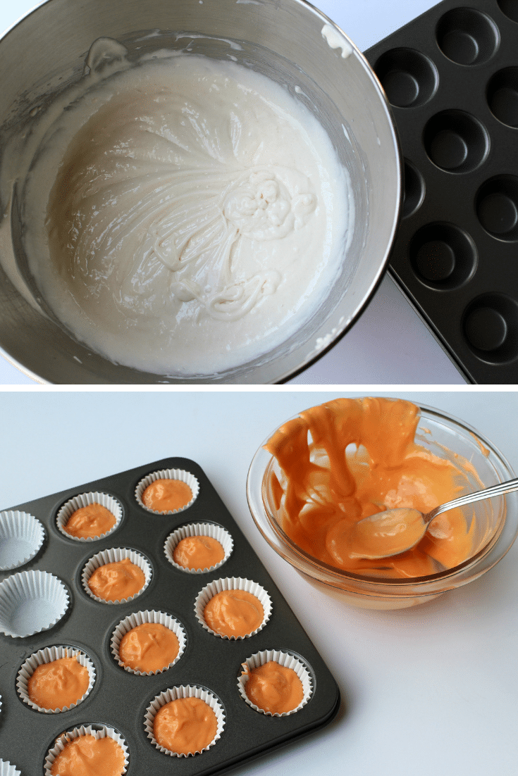 making ghost topped cupcakes