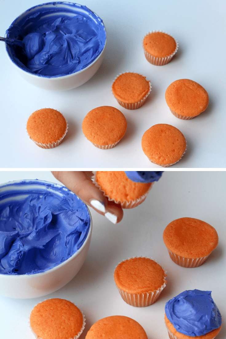 adding blue frosting to cupcakes