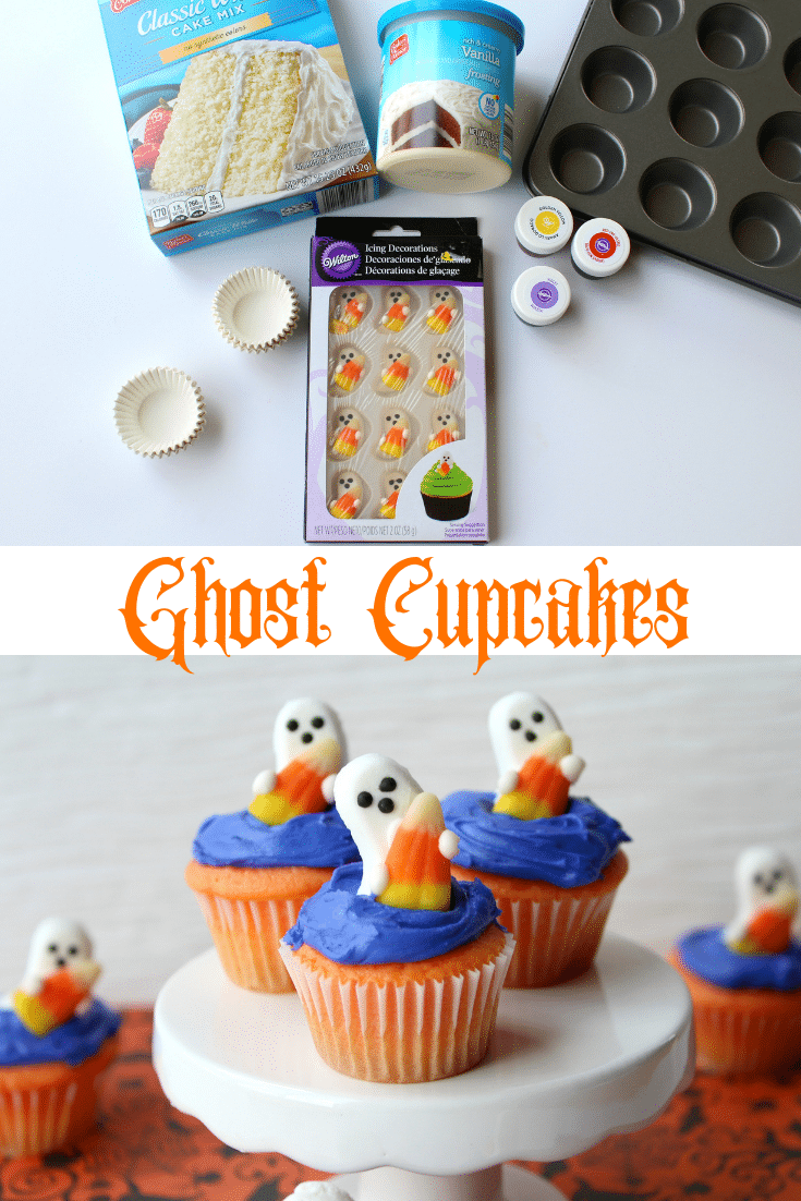 ingredients for cupcakes and 3 candy shaped ghosts on top of 3 blue frosted cupcakes