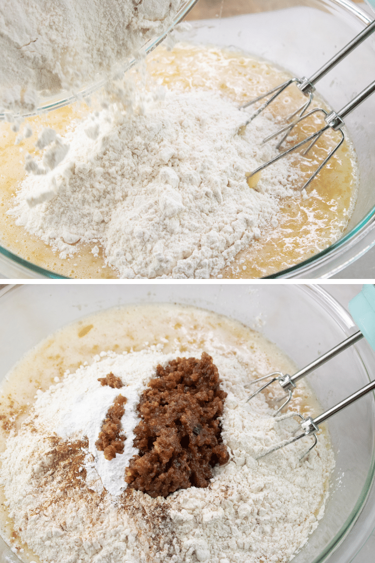 dry ingredients of maple bacon apple cake