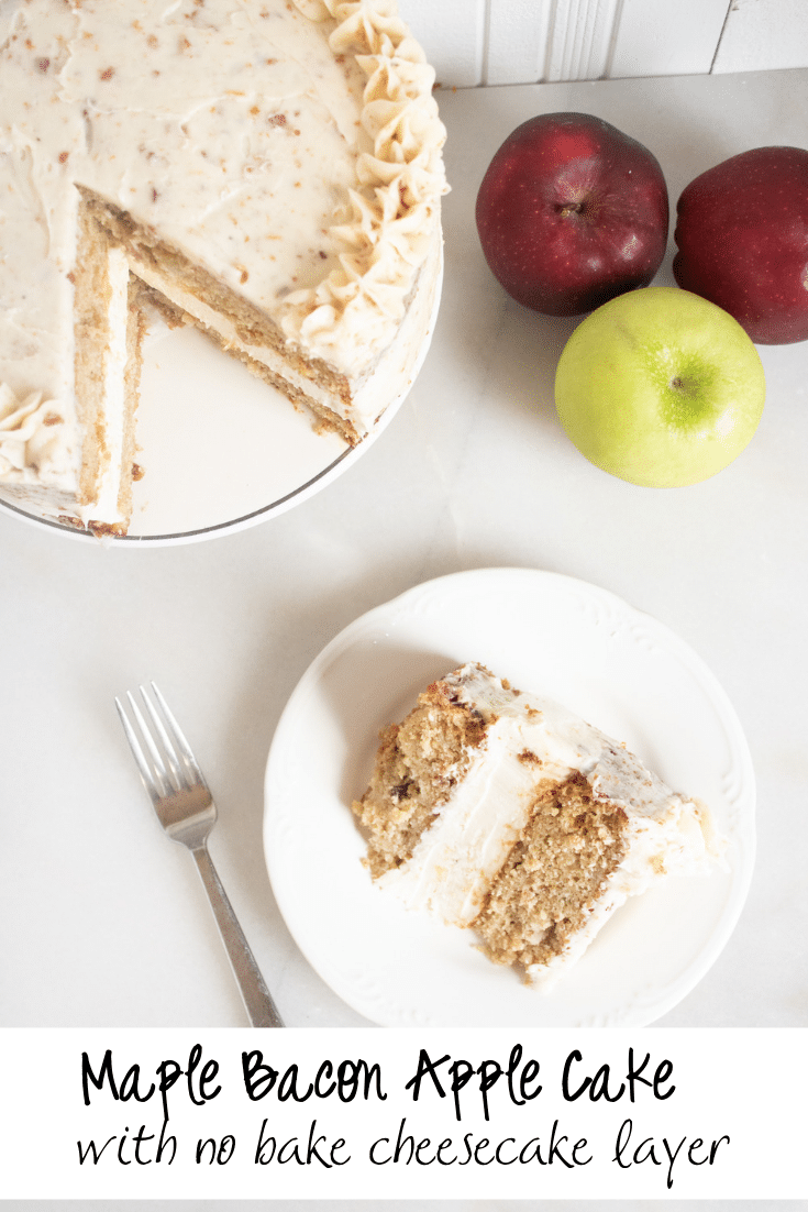 maple apple bacon cake with slice on white plate