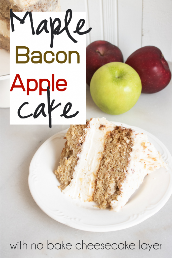 maple bacon apple cake on a white plate