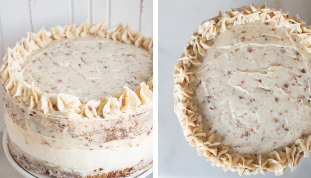 maple apple bacon cake top and side views