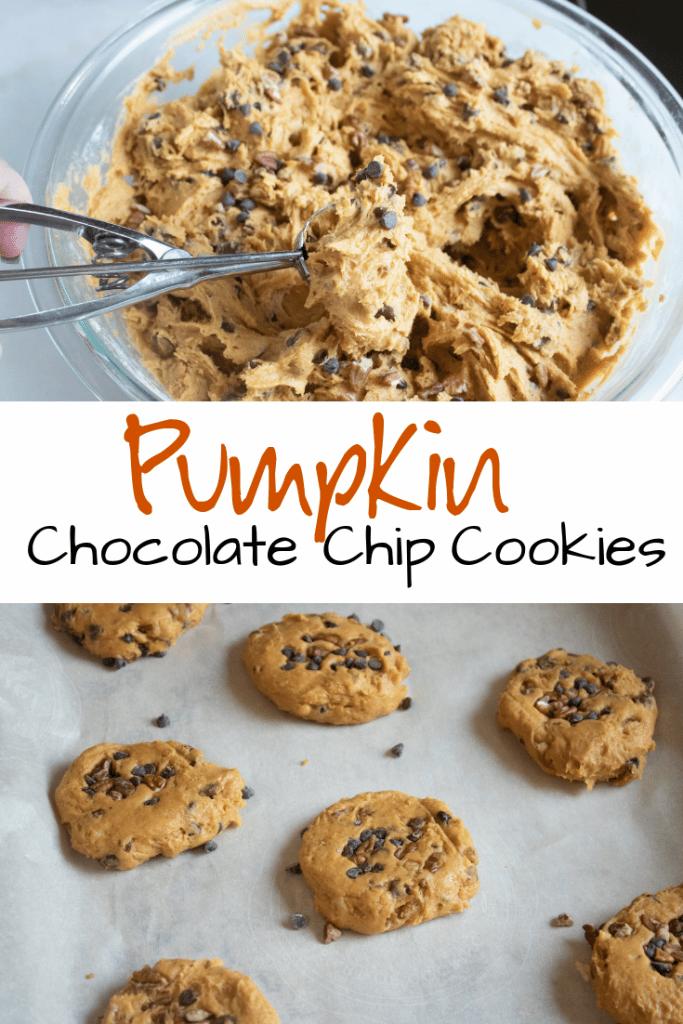 scooping pumpkin chocolate chip cookies