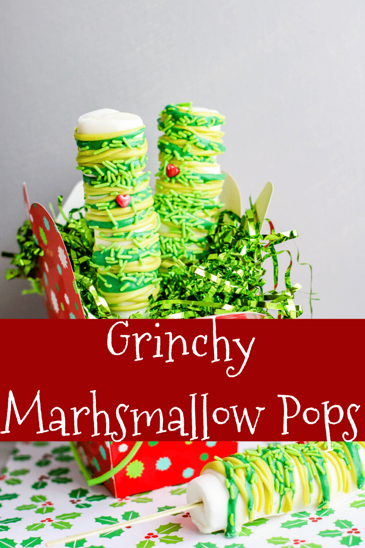 grinch marshmallow pops