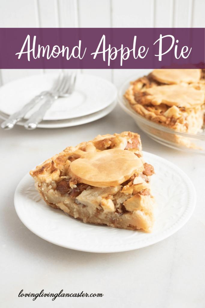 almond apple pie slice on white plate
