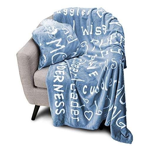 Blankiegram Mother Throw Blanket for Loving, Kind & Inspiring Moms   The Perfect Caring Gift (Blue)