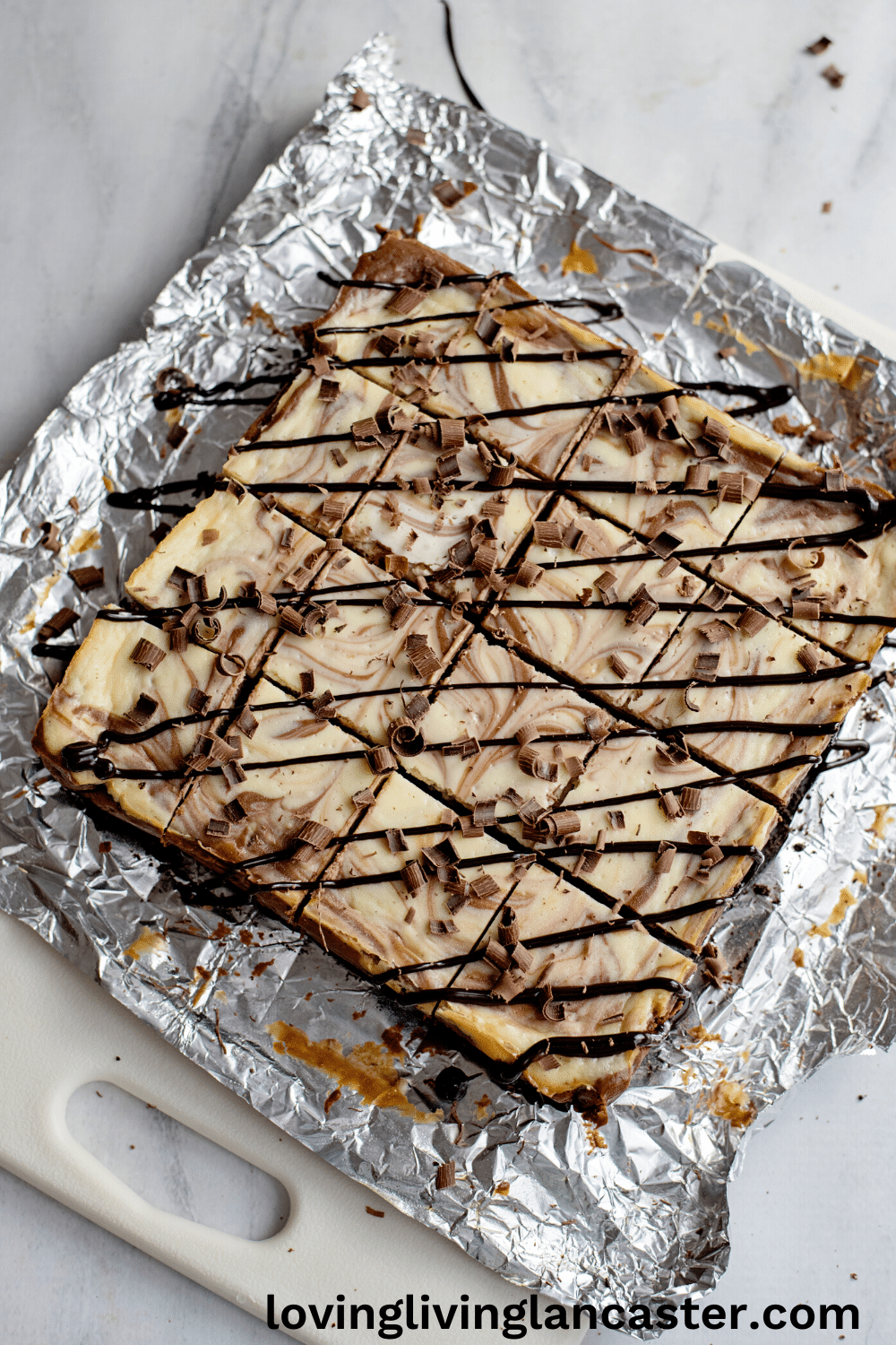 chocolate cheesecake cut into bars