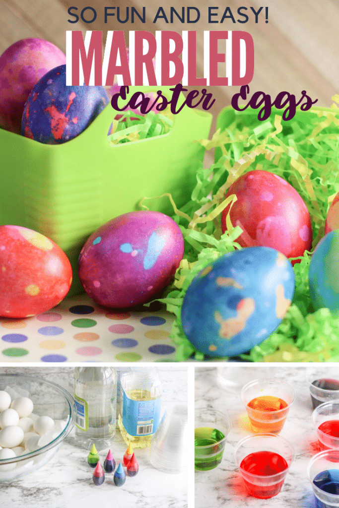 easter eggs on tablecloth with ingredients and coloring bowls