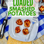 smashed potatoes on white plate