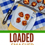 loaded potatoes on white plate and baking sheet