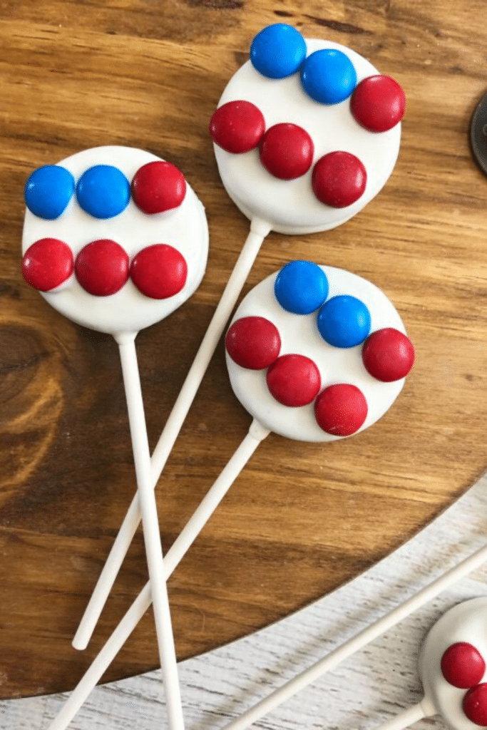 Oreo pops decorated as the American flag