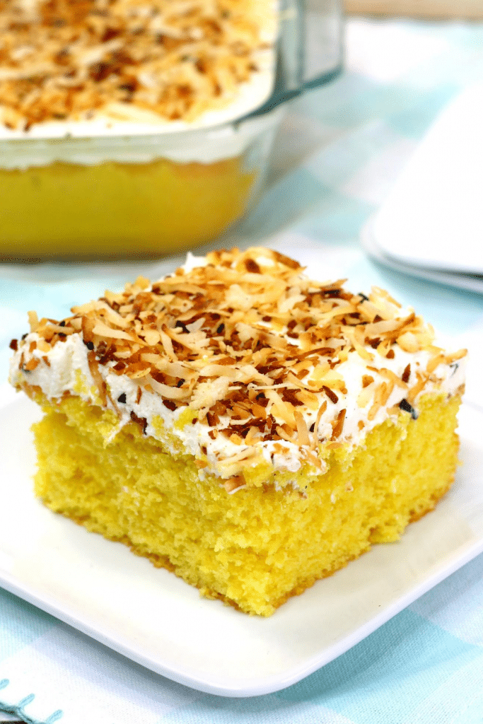 coconut cake on white plate